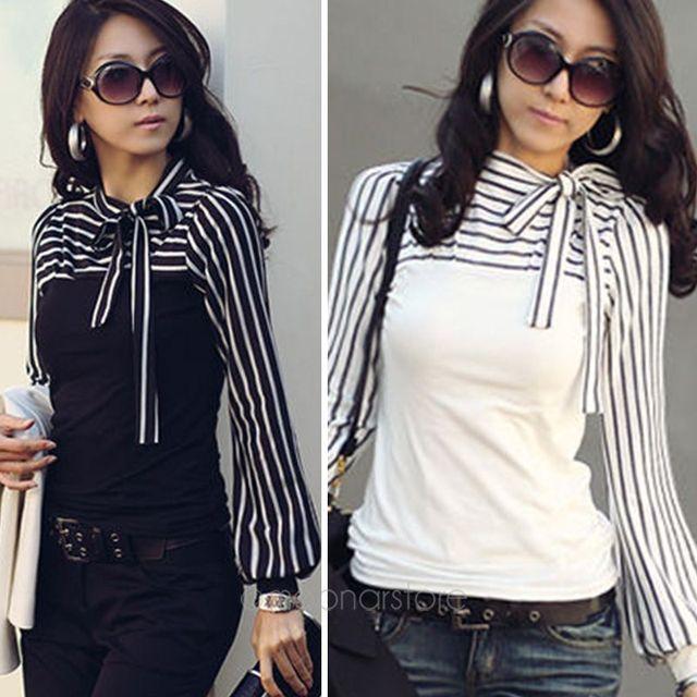 fa048fef3a81b Formal elegante Oficina dama blanco y negro mujer rayas blusas Bowknot  camisa de manga larga blusa