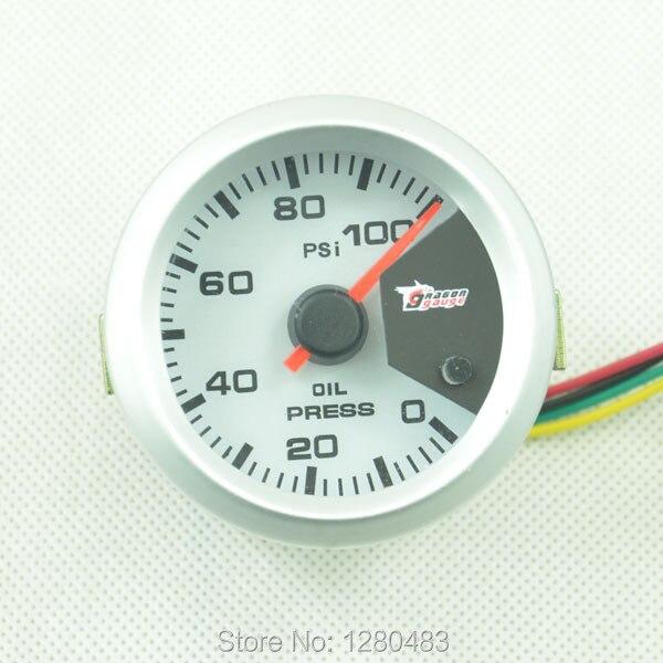 52MM 7 Color blacklight Oil Pressure gauge Meter Gauge with Sensor for 0 100PSI Free shipping