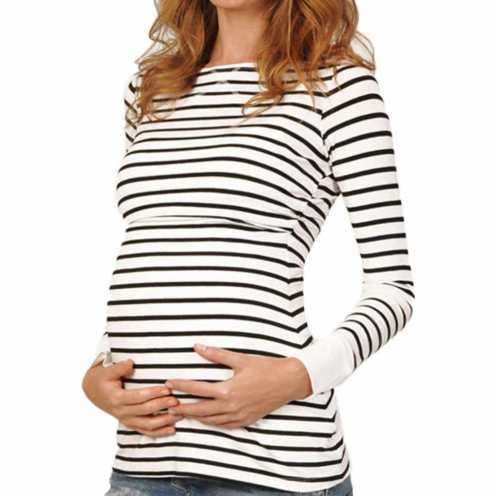 9ac0e269a46 ... Women Mom Pregnant Nursing Maternity Long Sleeved Stripe Tops Blouse  Clothes robe femme enceinte gravida clothes ...