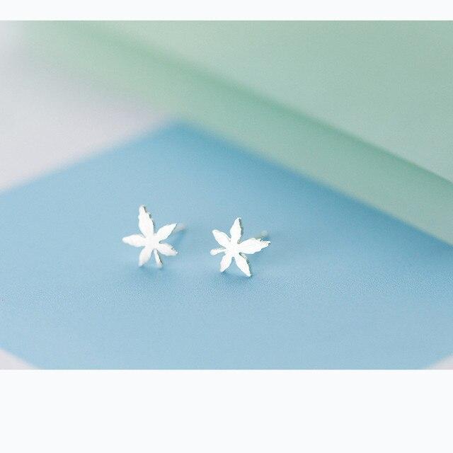5d67807f94324e MIESTILO 100% S925 Sterling Silver Maple Leaf Studs | Lab Guaranteed Post  Earrings Sterling-Silver-Jewelry Grass Stud Earrings