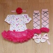 4PCs per Set Infant Lace Romper Rainbow Polka Dots Baby Girls Tutu Dress Headband Shoes Leggings for 0-12months Free Shipping