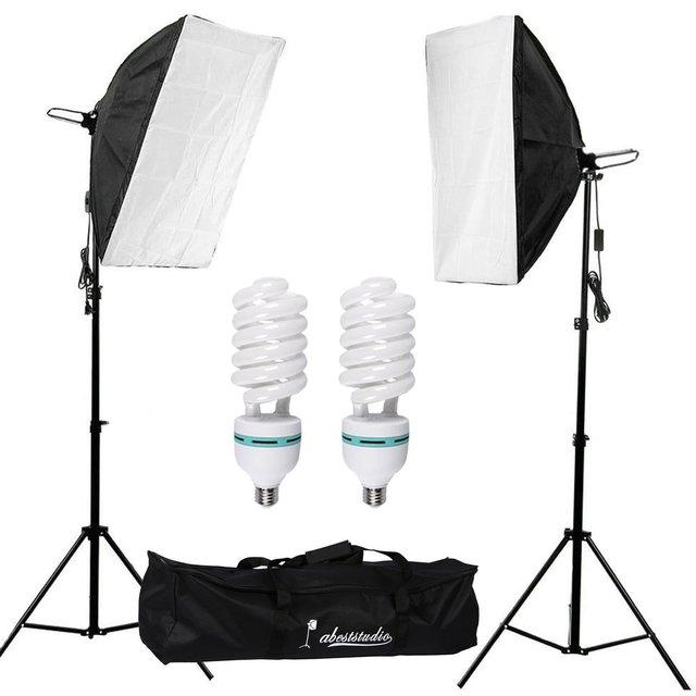 Abeststudio 2 X 135w Continuous Lighting Kit 50x70cm Softbox Photo Studio Set Light Bulbs 5500k Photography