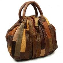 Free shipping 2016 women's genuine leather patchwork handbag vintage messenger bag