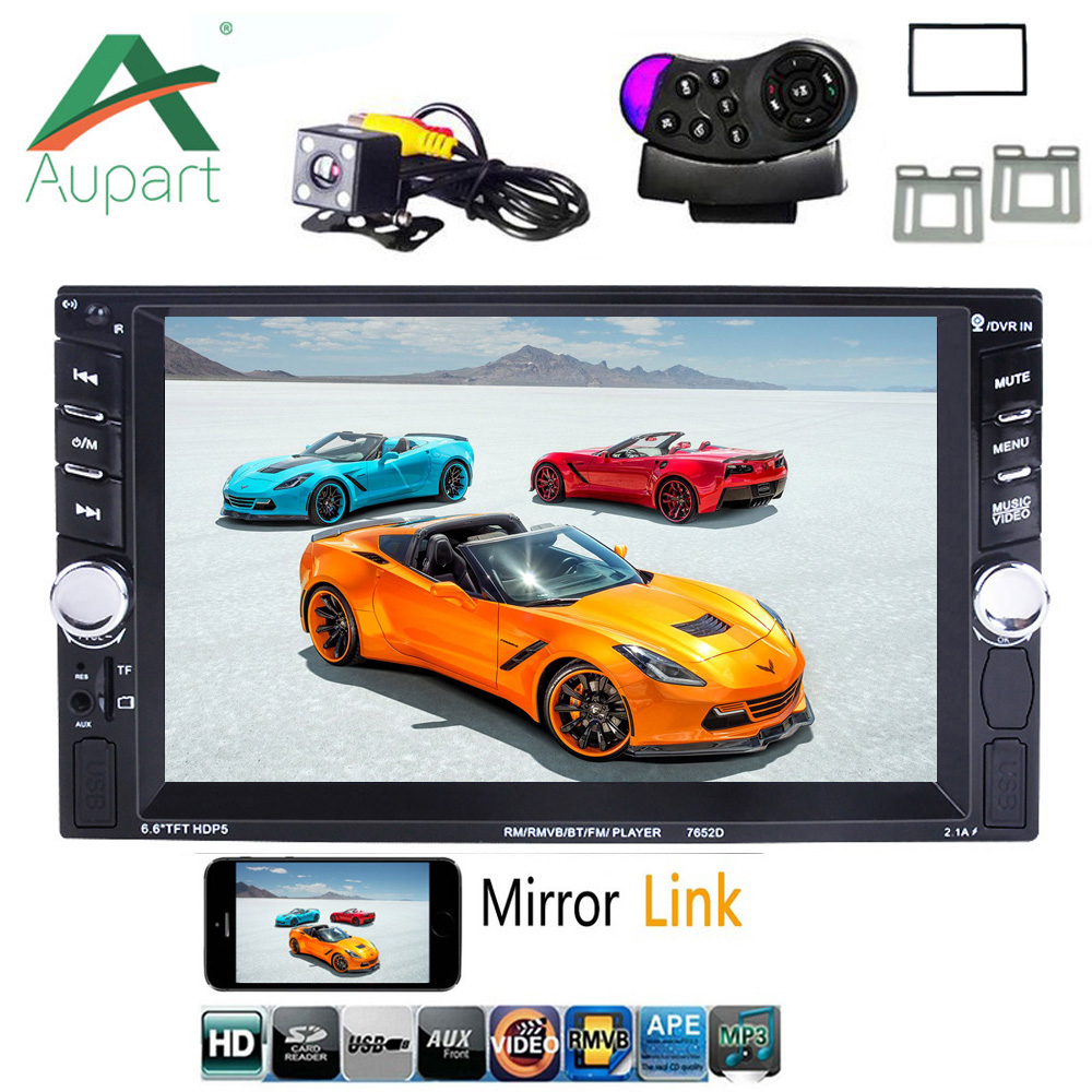 Autoradio 2 Din Car Radio 6.6 Inch Lcd Touch Screen Car Audio Car Stereo Bluetooth Hands Free Rear View Camera With Frame Back To Search Resultsautomobiles & Motorcycles
