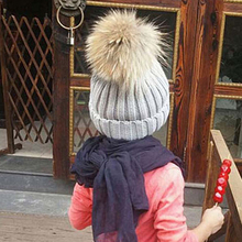 2017 New 0-4T Warm Winter Caps Thicken Knitted Baby Boys Girls Skullies Beanies Hats Fur Ball Solid Stripe Knitting Hats 5 color