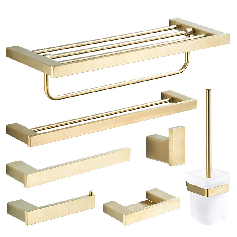 Brushed Gold Finish Bathroom Accessories Stainless Steel bathroom towel holder Towel Ring Bath robe Hook Paper Holder wall mountBrushed Gold Finish Bathroom Accessories Stainless Steel bathroom towel holder Towel Ring Bath robe Hook Paper Holder wall mount