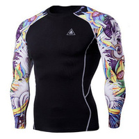 Mens Compression Shirts 3D Teen Jerseys Long Sleeve T Shirt Fitness Men Lycra MMA Crossfit T