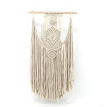 DIY woven tapestry bohemian home decoration wedding wall simple beige hangings curtain macrame