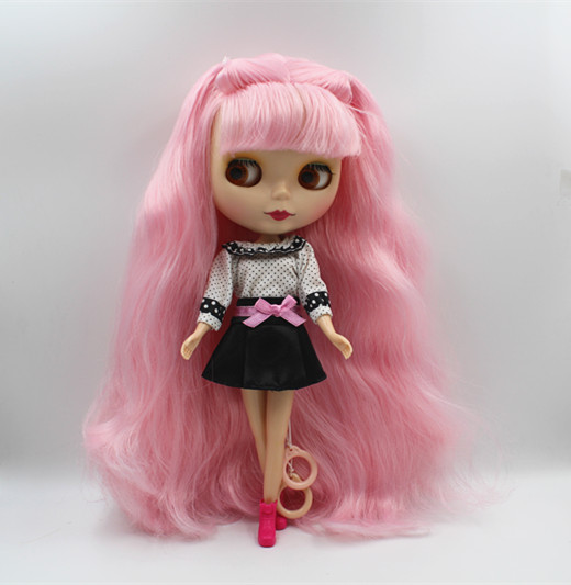 Blygirl Blyth doll Pink hair can be closed eyes matte mask nude doll 30cm ordinary body doll can be makeup