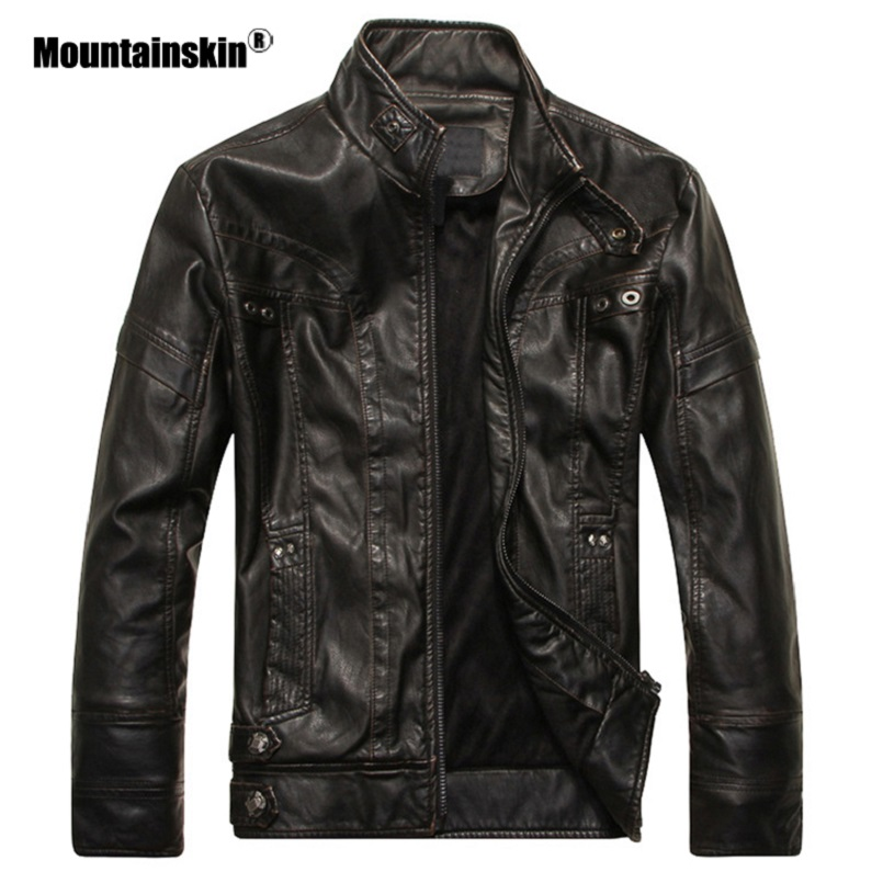 Mountainskin Men's Leather Jackets Motorcycle PU Jacket Male Autumn Casual Leather Coats Slim Fit Mens Brand Clothing SA588 1