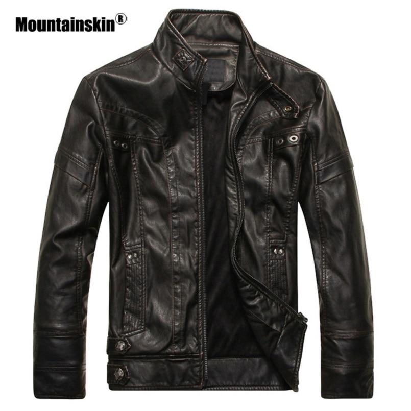 Kenntrice Autumn PU Leather Jacket Mens Sheepskin Coat Brand Male Winter Faux Leather Jackets Fur Men