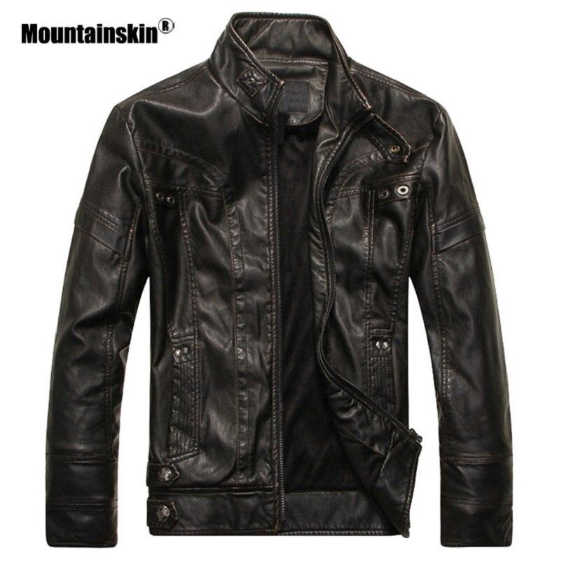 Piel de montaña nueva chaqueta de cuero para hombre chaqueta de PU para motocicleta otoño Casual abrigos de cuero ajustado para hombre ropa de marca SA588