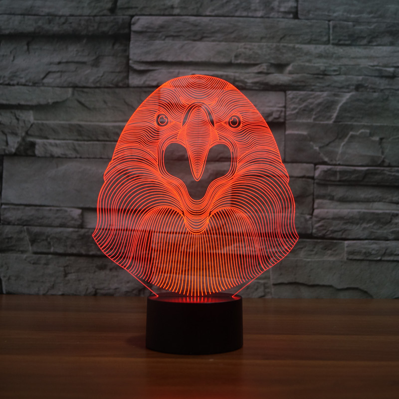 3D Atmosphere lamp 7 Color Changing Visual illusion LED Decor Lamp Eagle Head Home Table Decoration