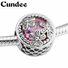 Fits Pandora Bracelet Charms 925 Sterling Silver Beads for Jewelry Making Dazzling Daisy Meadow Silver Charm DIY Beads