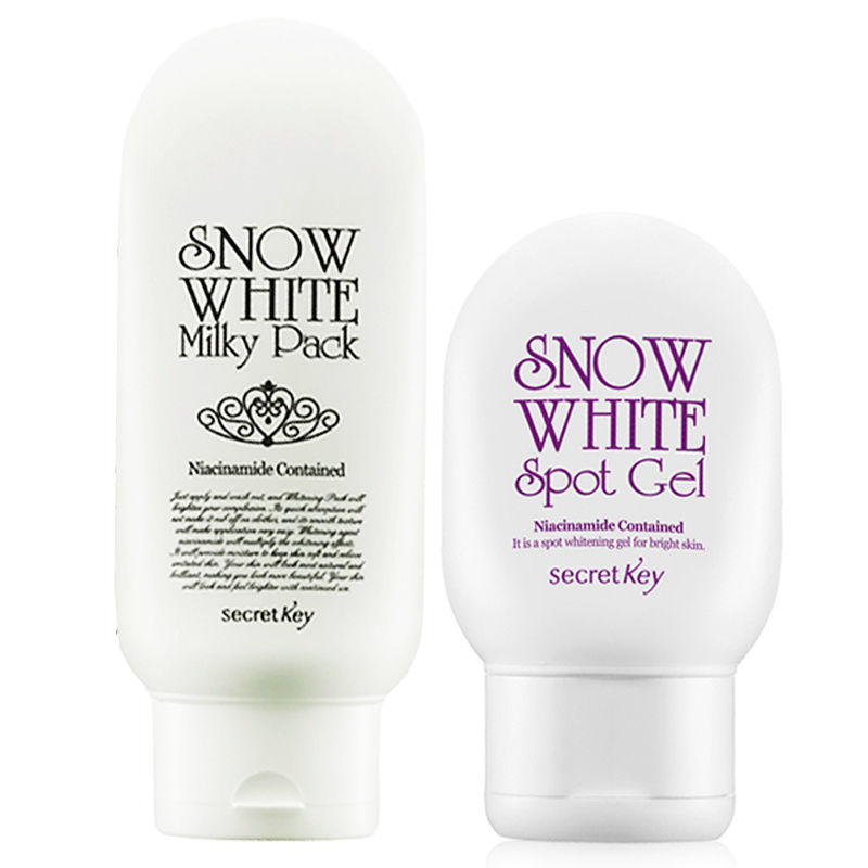 SECRET KEY Snow White Milky Pack 200ml + Snow White Spot Gel 65g Face Whitening Moisturizing deep clean Skin Care Korea Comestic s 65g