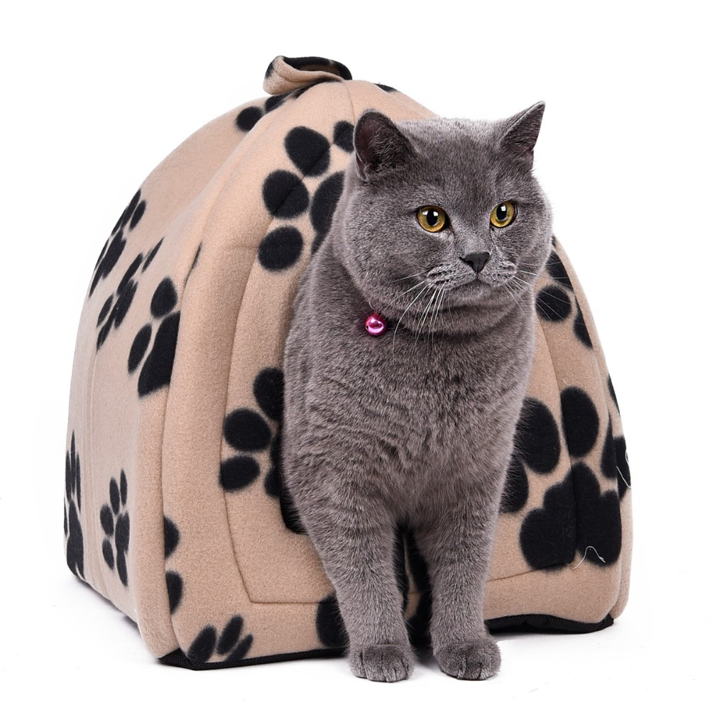 Cat Bed - Soft Fabric Cone Shape Bed/House with Grey cat