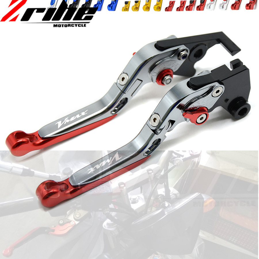 CNC With Logo Telescopic folding Motorcycle Adjustable Brake Clutch Levers For Yamaha VMAX V-MAX 1700 09-16 V MAX 2009-2016 for yamaha vmax v max 2009 2014 red black blue new style motor motobike motorcycle adjustable short brake clutch levers