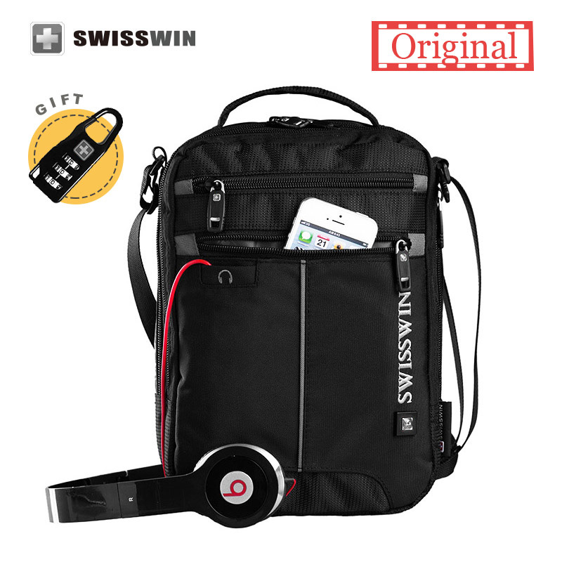 Swisswin Shoulder Bag Small Messenger Bag for Tablets Men's Black Handbag 11-inch Crossbody Bags for students Men Satchel Bag swisswin fashion brand men shoulder bag small black messenger daily phone bag quality waterproof nylon flap zipper crossbody bag
