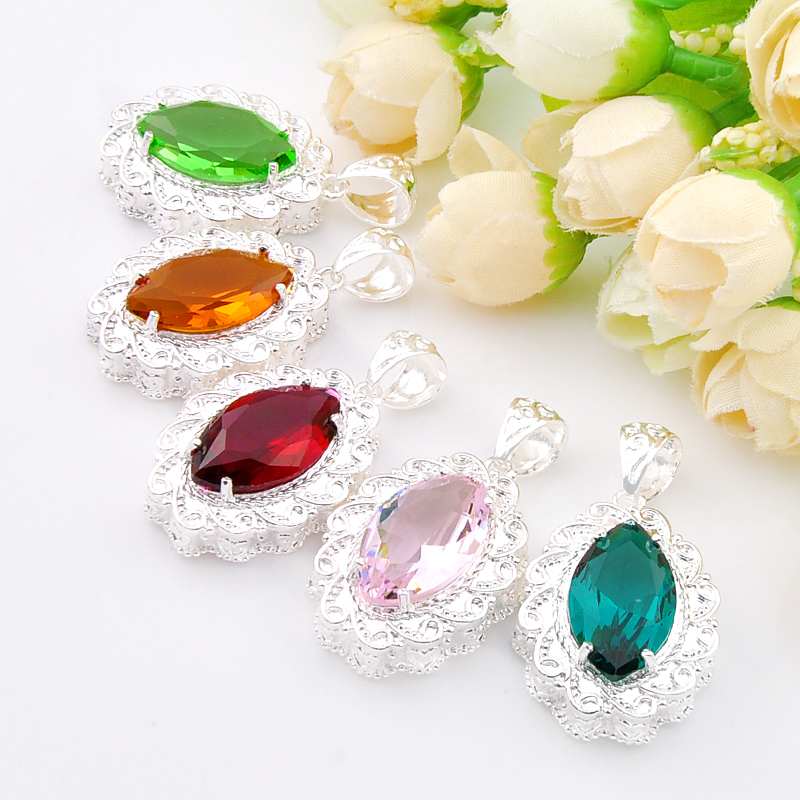 Aliexpress Com Luckyshine Bulk Mix Color 5pcs Unique Fire Pink Created Stone Silver Plated Pendants Russia Usa Canada For Necklaces From