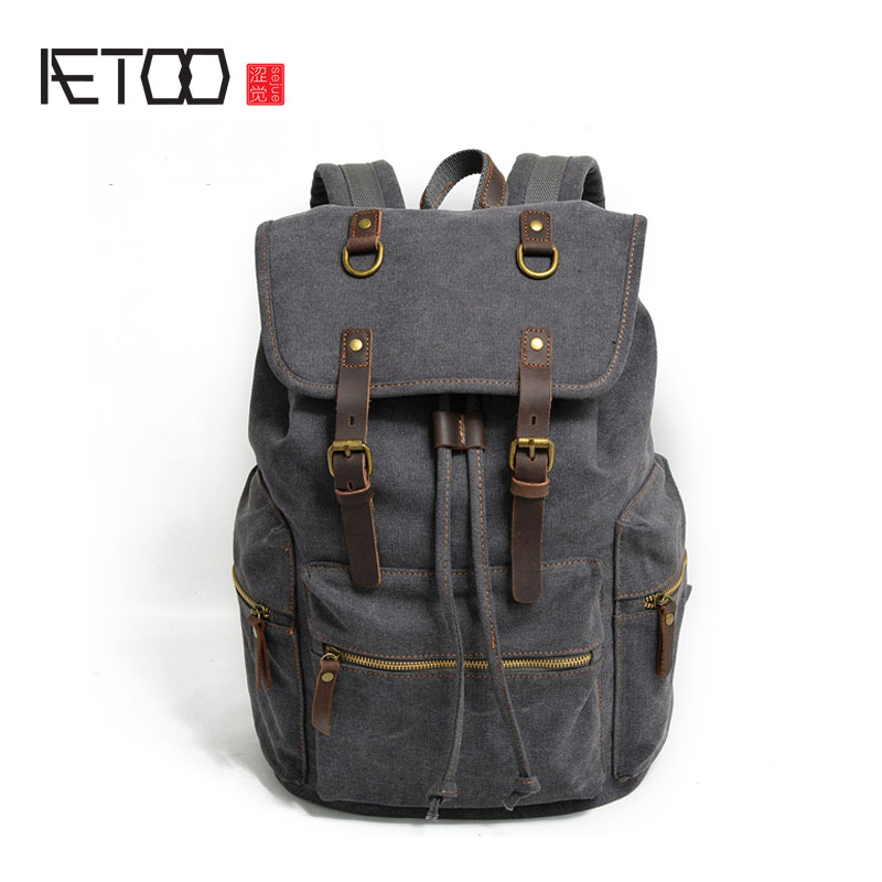 AETOO Canvas backpack men bag vintage casual backpack large computer bag with leather travel student bag brand new car dashboard cover for audi tt dash cover mat right hand driver