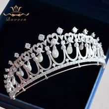 Bavoen High-end Brides Nature Shell Pearls Crown Wedding 4A Zircon Crystal Tiara Hairbands Wedding Hair Jewelry