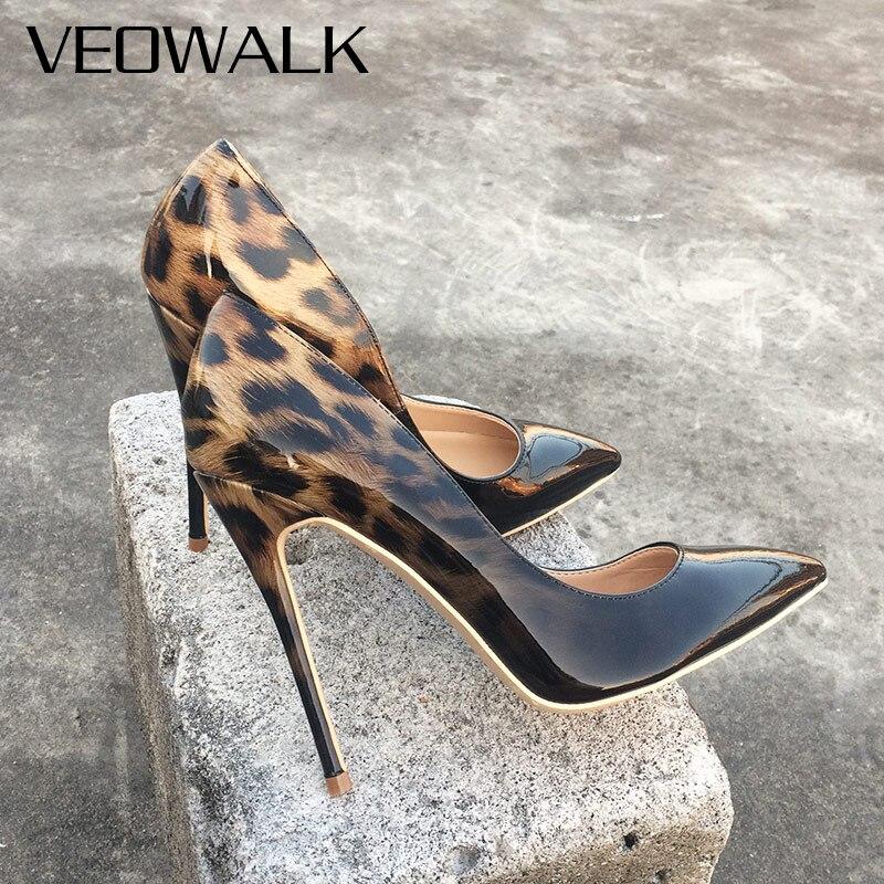 Veowalk Fashion Women Leopard Patent Leather Pumps Pointed Toe 8-12cm Stiletto U