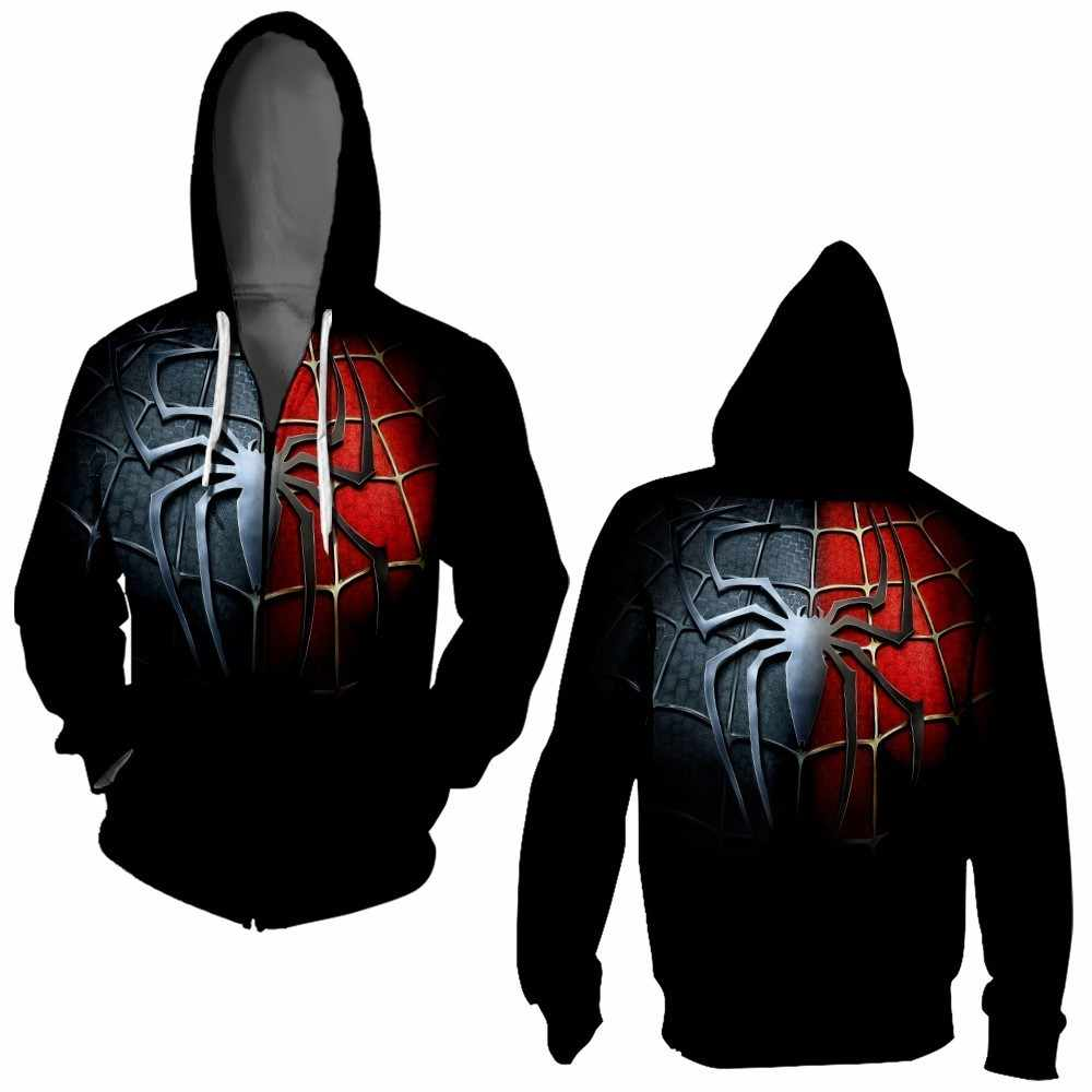 3D Spider-Man cremallera Sudadera con capucha sudaderas de manga larga con cremallera Mujer hombres enmascarado Spiderman Sudadera con capucha Cosplay chaqueta sudadera
