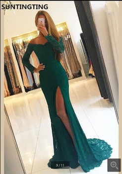 Robe de soiree green Lace mermaid Evening Dresses v neckline with Side Split Beaded Formal long sleeve evening gowns hot sale