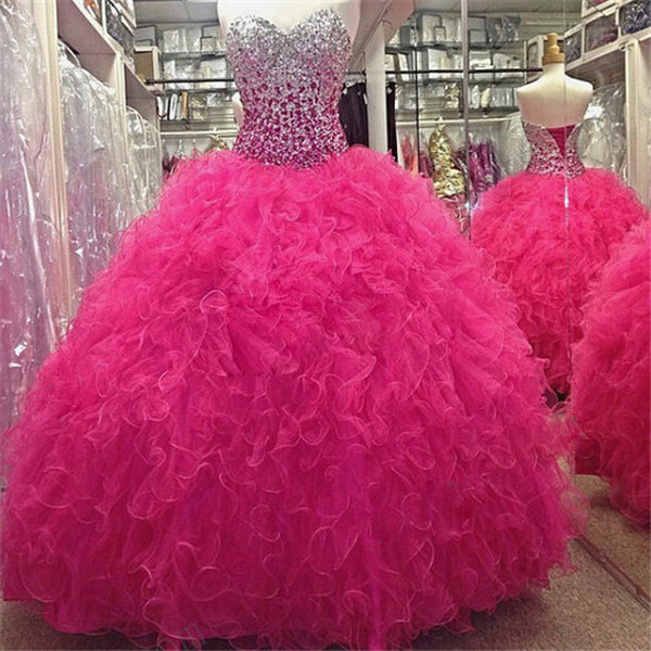 Fuchsia Puffy 2019 Cheap Quinceanera Dresses Ball Gown Sweetheart Organza Beaded Crystals Ruffles Party Sweet 16 Dresses
