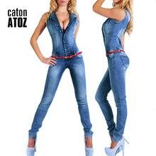 New Arrival Sleeveless Denim Jeans Sexy Bodysuit Jumpsuit