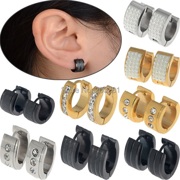 Trendy Men Women Punk Stainless Steel Pearl Crystal Earrings Gold Silver Black 316l Hoop Huggie Uni