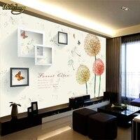 Beibehang Dandelion Frame Custom 3D Stereoscopic Mural Wallpaper Bedroom TV Backdrop Wall Paper Home Decor Papel