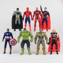 8Pcs / Lot Marvel Titan Hero Serie Captain America Thor Iron Man Spiderman Logan Iron Patriot PVC Action Figur Kids Toy Gift