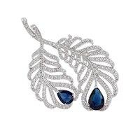2014 New Feather Brooch Pins White Gold Plated Swiss Cz Rhinestone Brooch Bridal Wedding Dress Jewelry