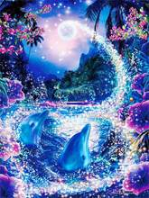 5D Diamond Embroidery Dolphin Scenery Cross Stitch DIY Diamond Painting landscape Diamond rhinestones Home Decor love gift(China)