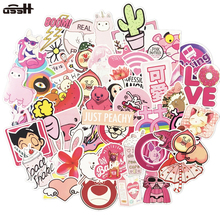 50 Pcs Pink lovable Series Cartoon Pvc Waterproof Sticker For Motorcycle Laptop Phone Guitar Luggage Decals