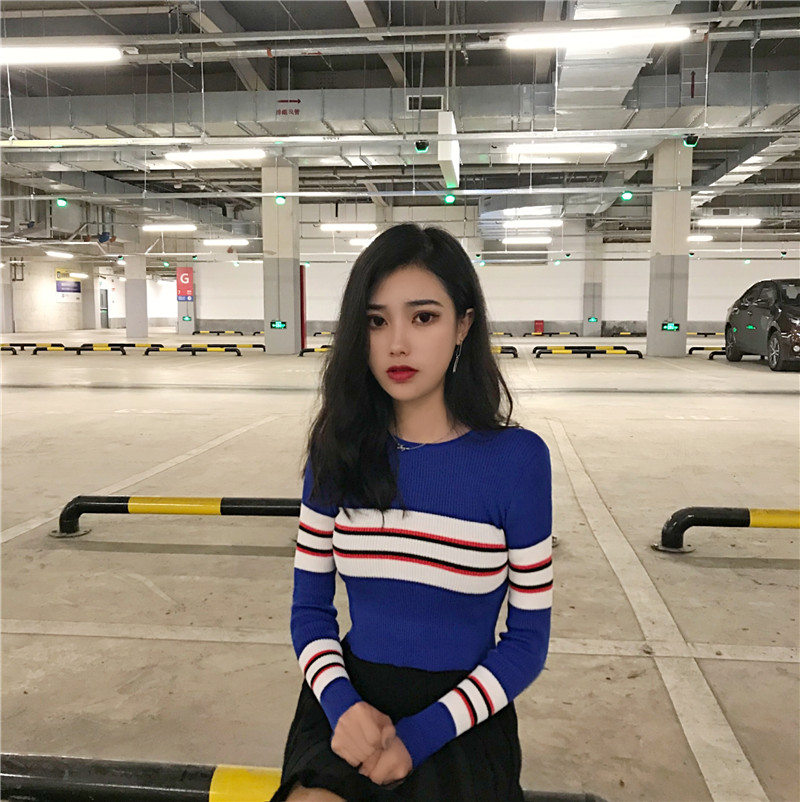 New Autumn Women Striped Sweater O-Neck Cropped Sweater Pullover Crop Top For Female 2