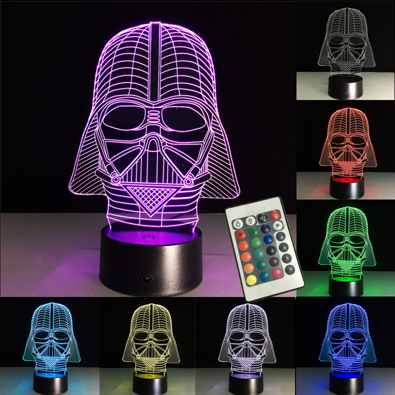 Colorful 3D Lamp LED Night Light Star Wars Storm Trooper Black Soldier RGB Remote Control USB Touch Remote Home Party Lighting