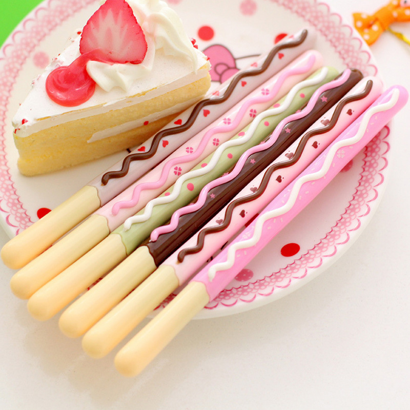 48 pcs Gel Pens Cartoon Sweet Cake black colored kawaii gift gel-ink pens for writing Cute stationery office school supplies danish design iq12q878slwh