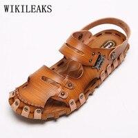 Chaussures hommes sandales de plage en cuir véritable plage chaussures d'été sandalias hombre gladiateur sandales pour hommes designer mules flip flops