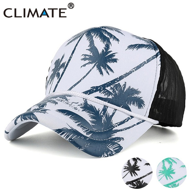 745ac848a98 CLIMATE Summer Coconut Trucker Cap Hat Tree Seaside Hawaii Mesh Caps  Holiday Vacation Aloha Adjustable Net Baseball Hats Cap