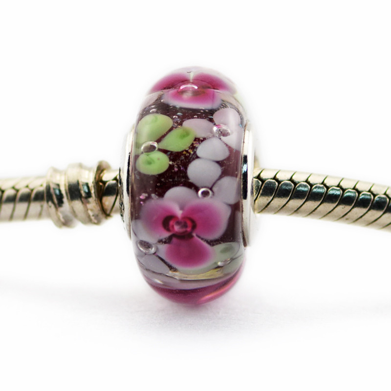 Fits Pandora Bracelets Flower Murano Glass silver Beads New Summer charms Original 100% 925 Sterling Silver Charm DIY jewelry