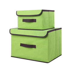 Cotton and linen storage box organizer with cap 2 size clothes toy sundries cosmetics household storage boxes and containers