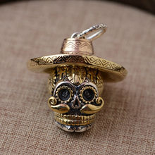 Gothic 100% Real 925 Sterling Silver Skull Pendant Trendy Cool Punk Style Thai Silver Skeleton With Hat