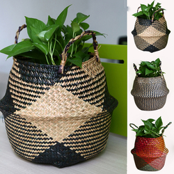 WHISM Folding Seagrass Flower Pots Basket Rattan Plants Pots Laundry Flower Basket Storage Home Room Office Garden Pots
