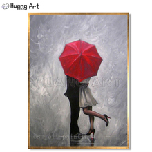Handmade Modern Abstract Wall Decor Fine Art Acrylic Oil Painting Perfect Love Red Umbrella Hand-painted Artwork Canvas