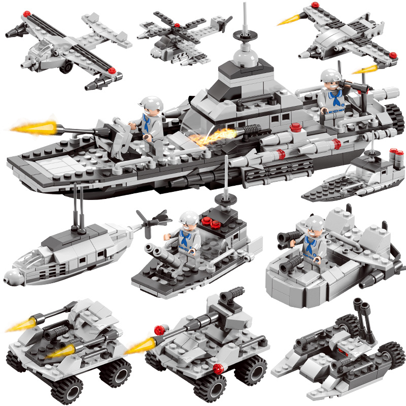 Military 6 in1 419PCS With Figures Building Blocks Tank Warship Army War Toys for Children Constructor Compatible tumama 829pcs military blocks toy 8 in 1 warship fighter tank army soldiers bricks building blocks educational toys for children