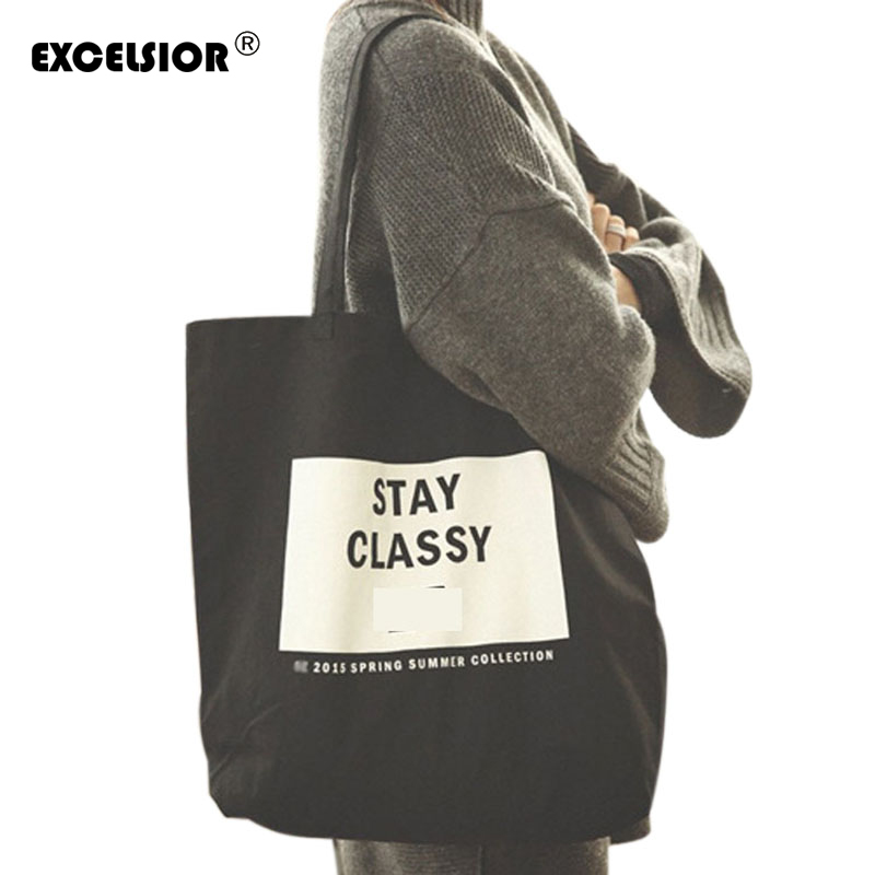 EXCELSIOR Large Capacity Women Canvas Handbag Open Shopping Shoulder Bag Letters Pattern Girls Beach Bookbag Casual Tote Korean rivet bag for women casual large capacity tote handbag horizontal vertical type useful shopping bag necessity sac bolsas new2015