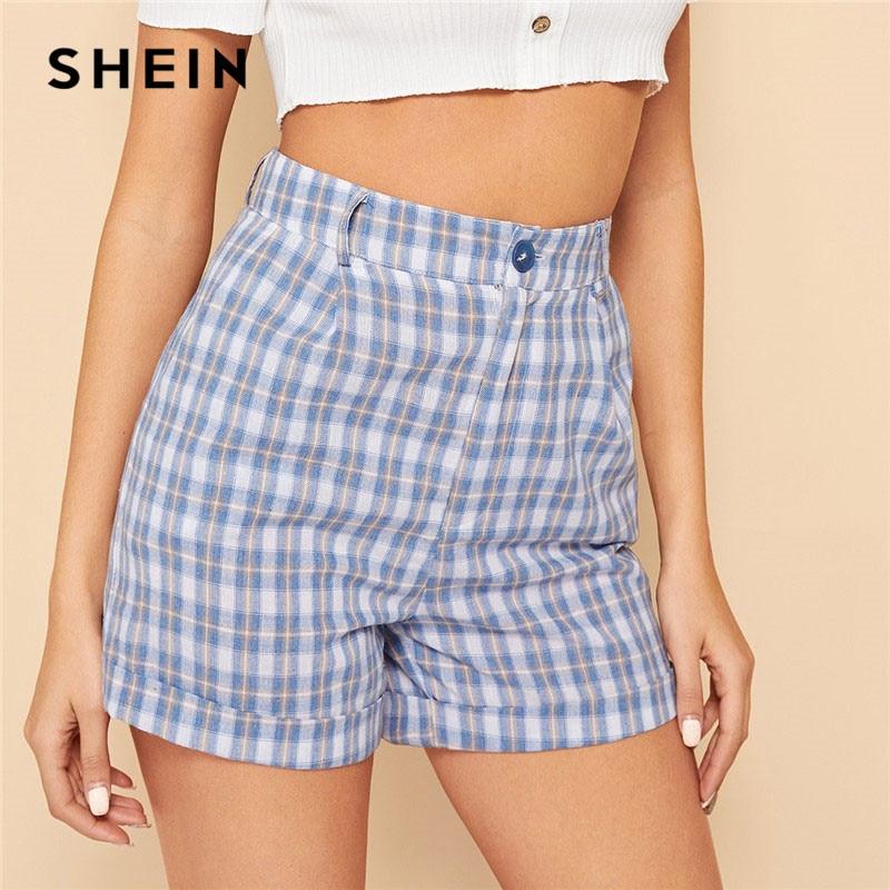 SHEIN Blue Casual Cotton Cuffed Hem High Waist Plaid   Shorts   Women Summer Highstreet Preppy Zipper Fly Button Mini   Shorts