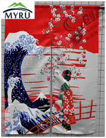 Japanese Style Creative Decorative Partition Curtain Cloth Sea Wave Oriental Cherry Maid Door Hanging Curtain